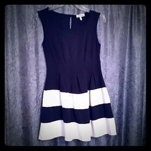 Monteau, Blue & White Pleated Dress, Size Small